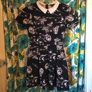 Collared Mini Dress flower design pattern